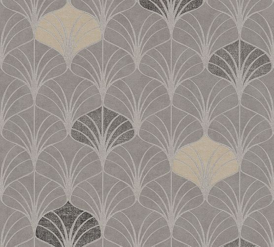 Non-woven wallpaper art deco design greige 37483-2