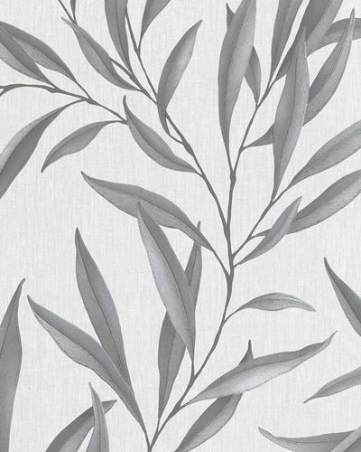 Non-Woven Wallpaper Leaves Floral grey white 32201