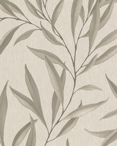 Non-Woven Wallpaper Leaves Floral brown beige grey 32204