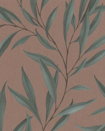Non-Woven Wallpaper Leaves Floral red brown green 32205