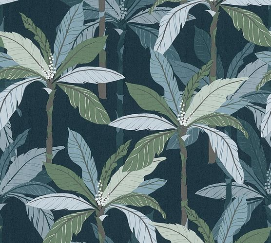 Non-Woven Wallpaper Palms Leaves green grey 37530-6 online kaufen