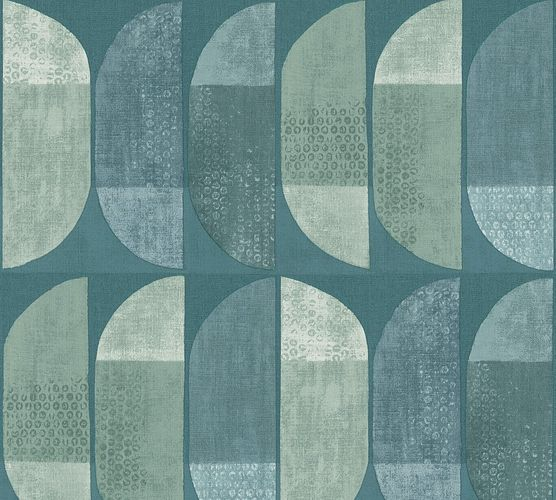 Non-Woven Wallpaper Graphic Semicircle green blue 37531-3 online kaufen