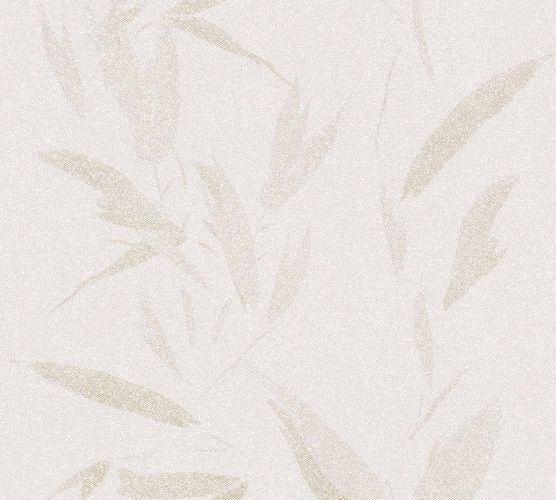 Wallpaper non-woven leaves cream beige 37549-5 | 375495