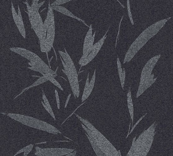 Wallpaper non-woven leaves black silver 37549-2 | 375492