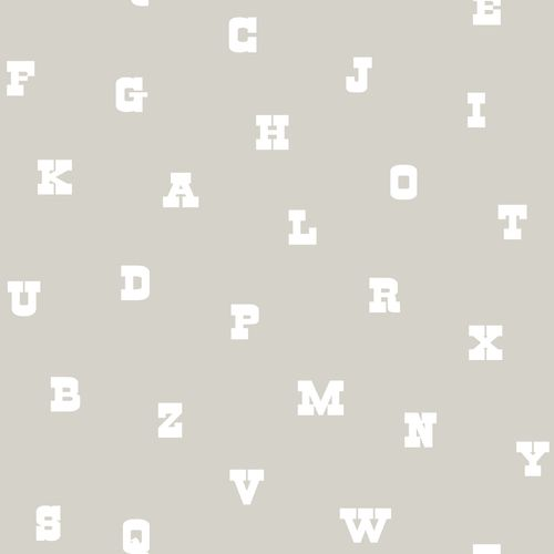 Non-woven wallpaper letters greige white 072103 online kaufen