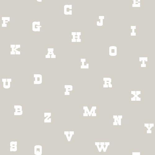 Non-woven wallpaper letters greige white 072103