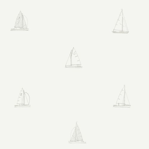 Non-woven wallpaper boats white greige 072044 online kaufen