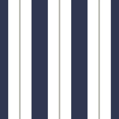 Non-woven wallpaper striped white darkblue greige 072026