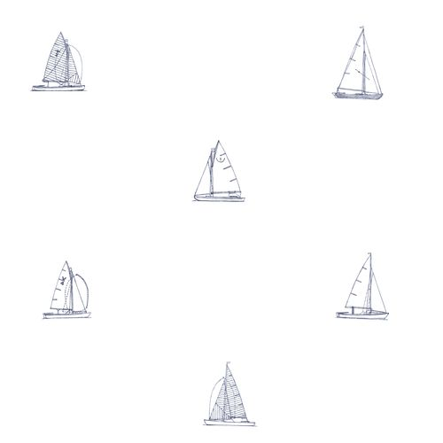 Non-woven wallpaper boats white black 072047