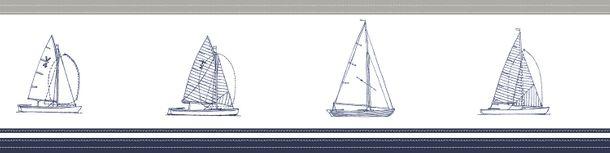 Wallpaper border boats white greige dark blue 172135