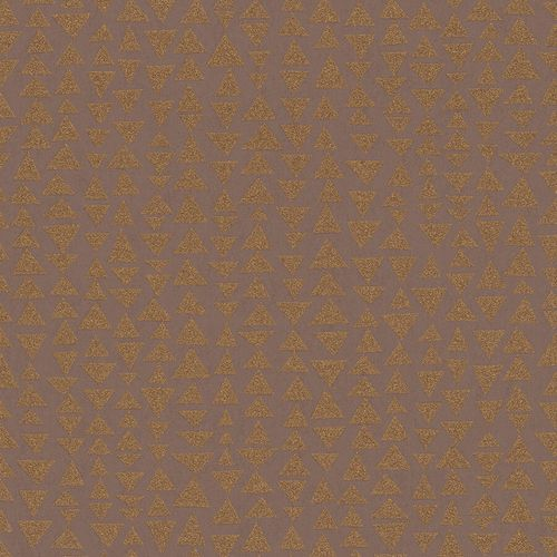 Vliestapete Marburg Dreiecke rot-braun metallic 84863