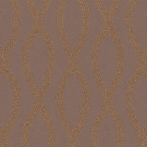 Non-Woven Wallpaper Ikat Graphic brown metallic 84866
