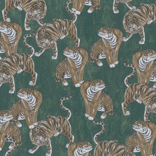 Vliestapete Marburg Tiger grün braun metallic 84872