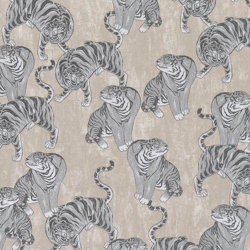Non-Woven Wallpaper Tiger beige grey metallic 84874