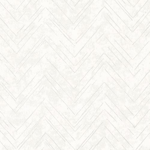 Non-Woven Wallpaper Zig-Zag Line white metallic 84886
