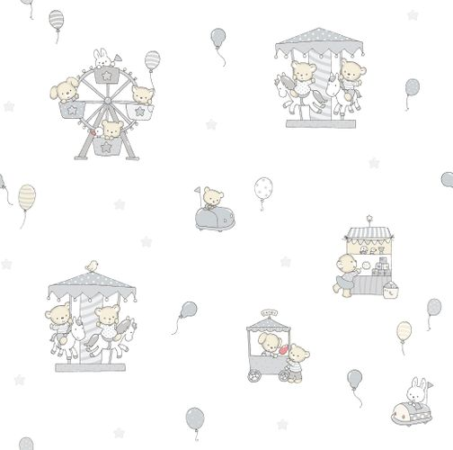 Kids paper wallpaper rabbit bear white grey beige 102203