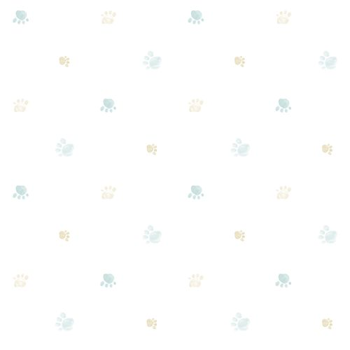Kids paper wallpaper paws white light green beige 102284 online kaufen