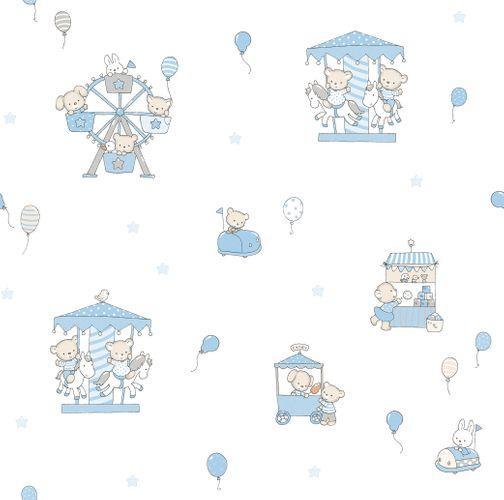 Kids paper wallpaper rabbit bear white blue beige 102201 online kaufen