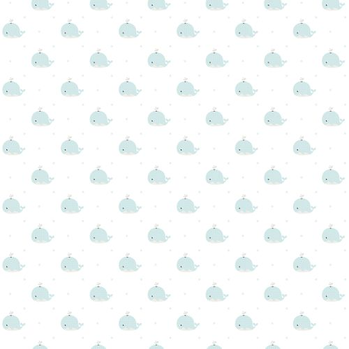 Kids paper wallpaper whales white light green 102232 online kaufen