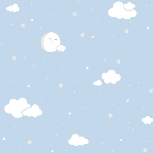 Kids paper wallpaper full moon blue white 102211