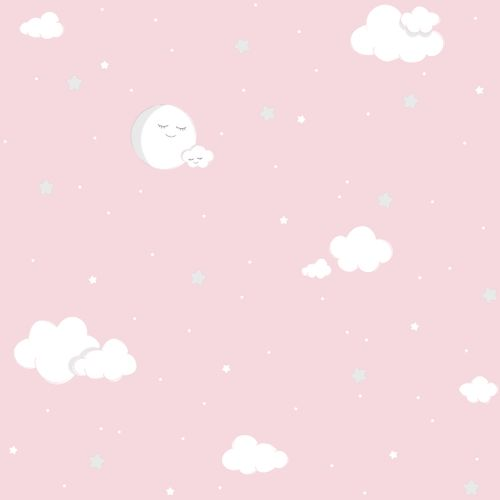 Kids paper wallpaper full moon rose white grey 102212 online kaufen