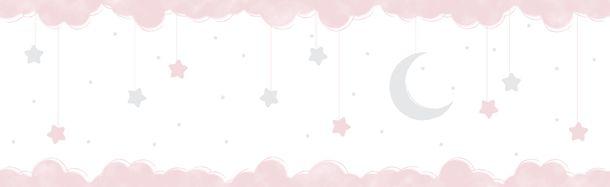 Kinder selbstklebende Borte Halbmond rosa weiß 102412