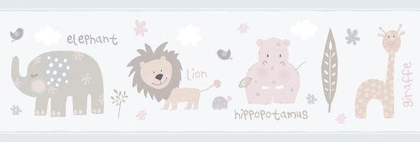Kinder selbstklebende Borte Zootiere grau 102422 online kaufen