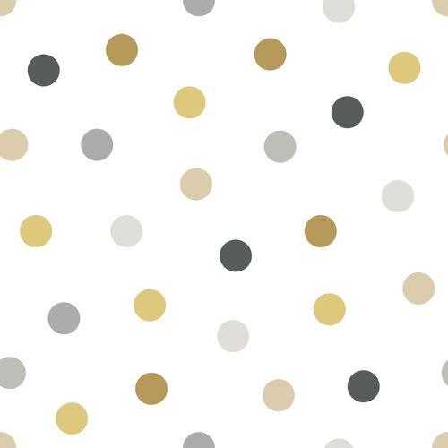 Kidsroom Non-Woven Wallpaper circles white grey 139042