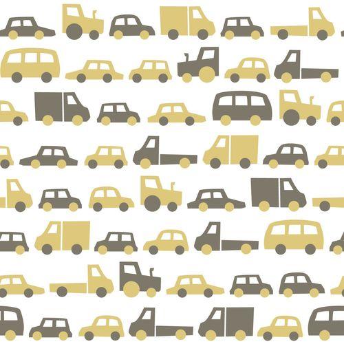 Kinderzimmer Vliestapete Automobile weiß gelb 139044