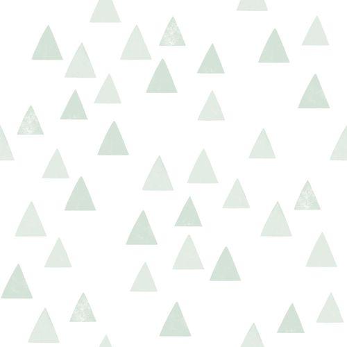Non-Woven Wallpaper triangles white green 139055 online kaufen