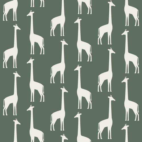 Kidsroom Non-Woven Wallpaper giraffes dark green 139060