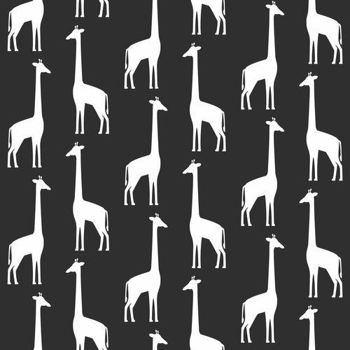 Kinderzimmer Vliestapete Giraffen schwarz weiß 139062