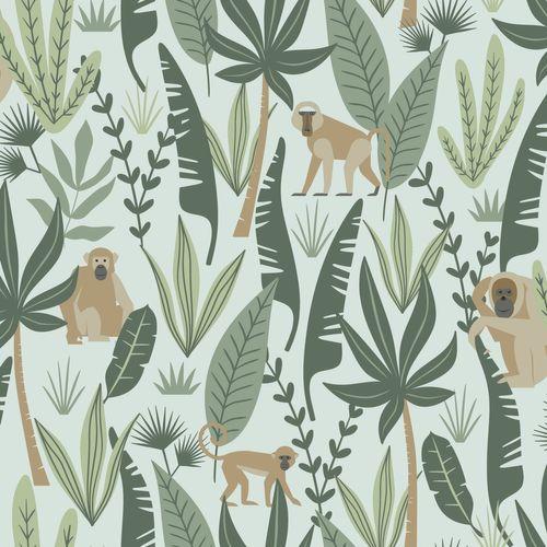 Kidsroom Non-Woven Wallpaper jungle green brown 139073