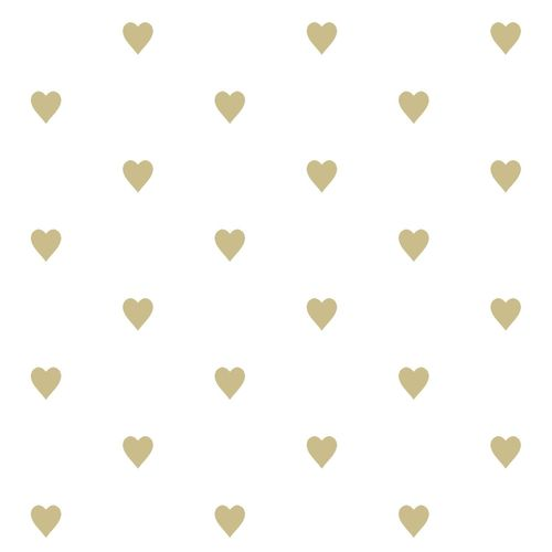 Kids non-woven wallpaper hearts white gold glossy 347679
