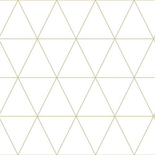 Non-woven wallpaper graphical tiles white gold 347682