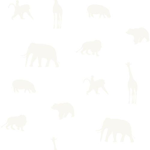 Kids non-woven wallpaper animal white silver 347688 online kaufen