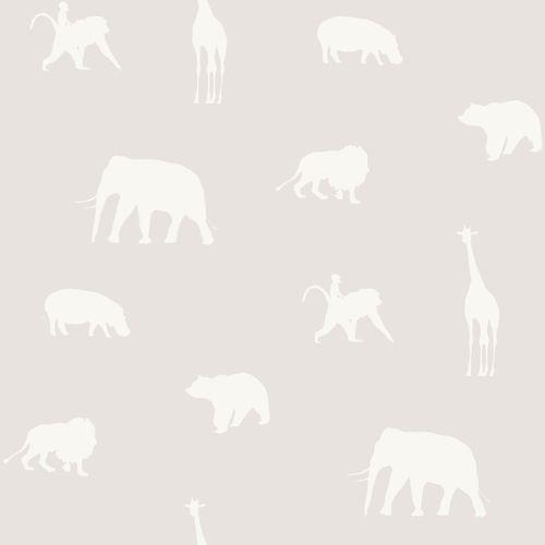 Kids non-woven wallpaper animal grey silver 347689