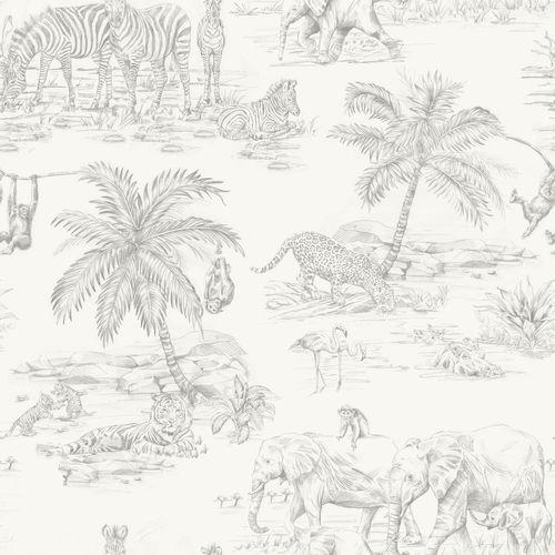 Kids non-woven wallpaper exotic silver grey 347692 online kaufen