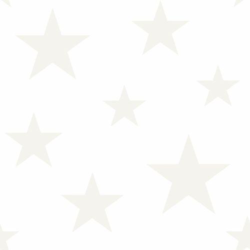 Kids non-woven wallpaper stars white silver 347696