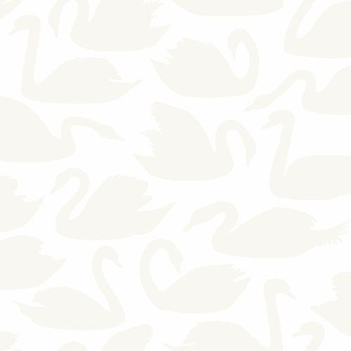 Kids non-woven wallpaper swans white silver 347707 online kaufen