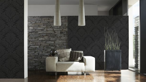 Retro Baroque Wallpaper Black 5526-31 552631 online kaufen