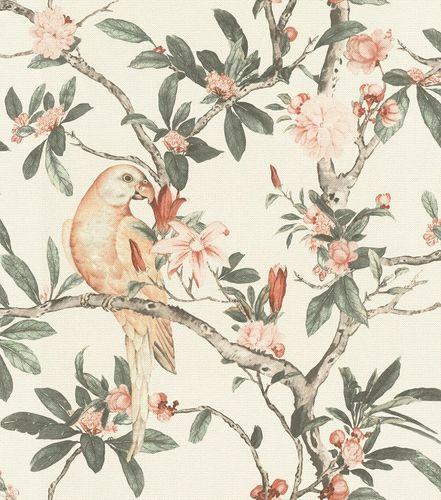 Non-woven wallpaper botanical white rose green 543315 online kaufen