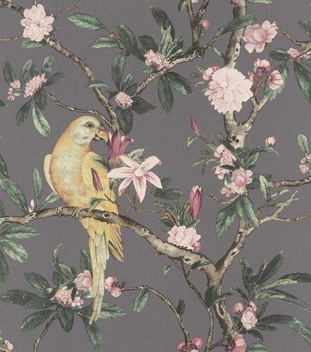 Non-woven wallpaper botanical anthracite rose 543346 online kaufen