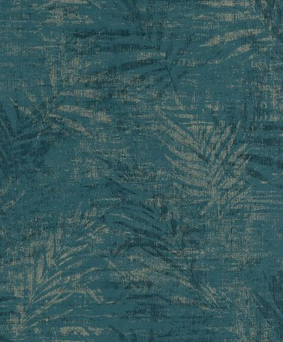 Non-woven wallpaper fern petrol gold 546637