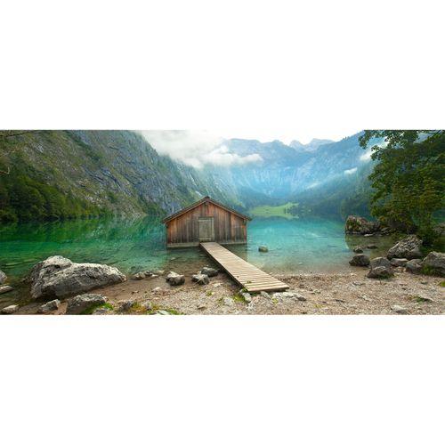Photo Non-Woven Wallpaper Hut Mountains Lake blue brown
