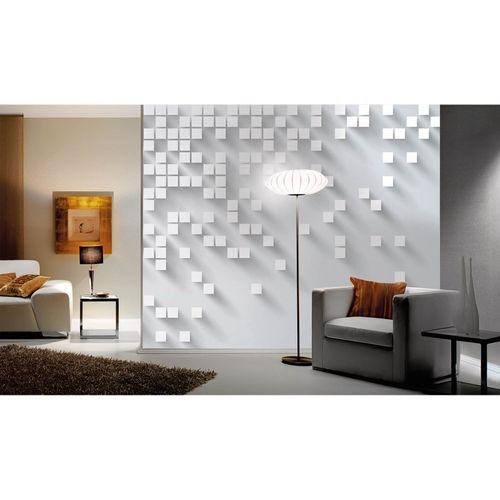 Fototapete Vlies Premium Quadrate Grafisch grau weiß