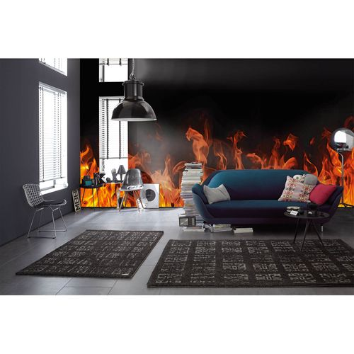 Photo Non-Woven Wallpaper Flames Fire red yellow black