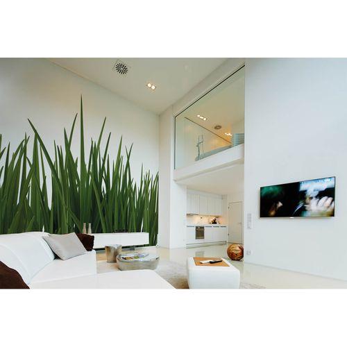 Photo Non-Woven Wallpaper Lawn Floral green white