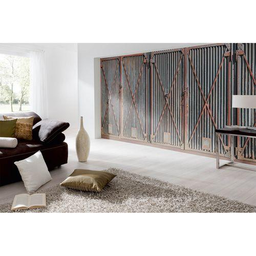 Photo Non-Woven Wallpaper Metal Rust Door blue grey red
