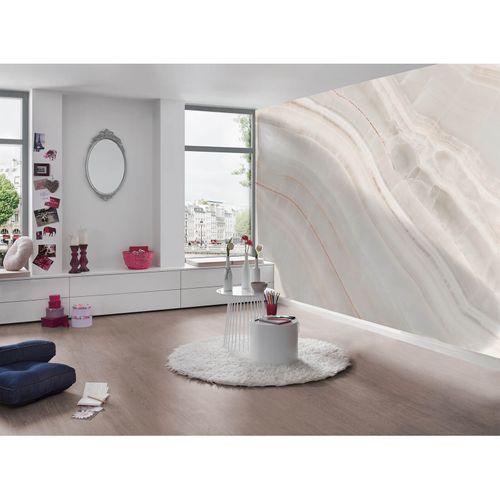 Photo Non-Woven Wallpaper Marble cream orange white